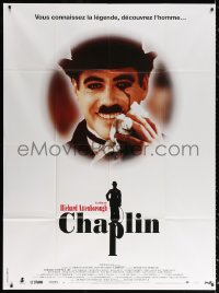 2z0820 CHAPLIN French 1p 1992 great different smiling portrait of Robert Downey Jr. as Charlie!