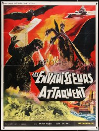2z0854 DESTROY ALL MONSTERS French 1p R1970s different art with Godzilla, Ghidorah, Rodan & more!