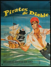 2z0857 DEVIL-SHIP PIRATES French 1p 1965 Hammer, crew of cutthroats, cool different art by Siry!