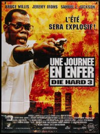2z0859 DIE HARD WITH A VENGEANCE French 1p 1995 great c/u of Samuel L. Jackson by explosion, rare!