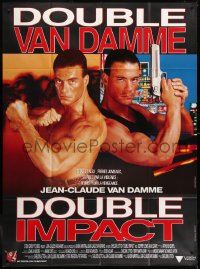 2z0866 DOUBLE IMPACT French 1p 1991 great image of Jean-Claude Van Damme in a dual role as twins!