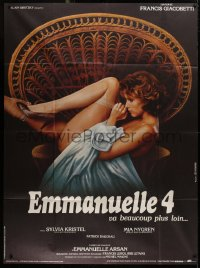 2z0877 EMMANUELLE 4 French 1p 1984 super sexy naked Mia Nygren sitting in wicker chair!