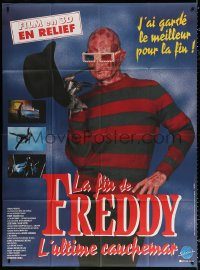 2z0903 FREDDY'S DEAD French 1p 1992 wacky image of Robert Englund as Freddy Krueger with 3-D glasses!