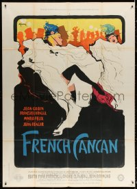 2z0904 FRENCH CANCAN style B French 1p 1955 Jean Renoir, Rene Gruau art of Moulin Rouge showgirls!