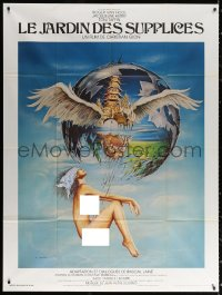 2z0907 GARDEN OF TORTURE French 1p 1976 Siudmak art of nude woman suspended from floating island!
