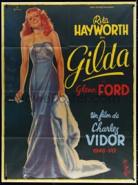 2z0912 GILDA French 1p R1972 art of sexy Rita Hayworth full-length in sheath dress by Boris Grinsson!