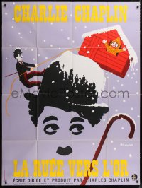 2z0921 GOLD RUSH French 1p R1972 Charlie Chaplin classic, great Leo Kouper artwork!