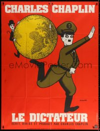 2z0929 GREAT DICTATOR French 1p R1973 great Leo Kouper art of Charlie Chaplin, wacky WWII comedy!