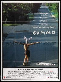 2z0936 GUMMO French 1p 1997 wacky image of half-naked man on skateboard & wearing bunny hat!