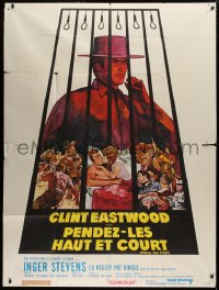 2z0941 HANG 'EM HIGH French 1p 1968 Sandy Kossin art of smoking Clint Eastwood under the gallows!