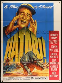 2z0945 HATARI French 1p 1962 Howard Hawks, best art of John Wayne in Africa by Roger Soubie!