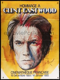 2z0956 HOMMAGE A CLINT EASTWOOD French 1p 1984 Raymond Moretti headshot art of the man himself!