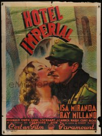 2z0958 HOTEL IMPERIAL French 1p 1939 c/u of Ray Milland French kissing beautiful Isa Miranda, rare!