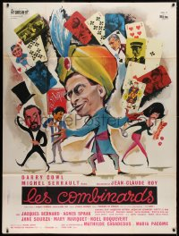 2z1009 LES COMBINARDS French 1p 1966 great art of turbaned magician Darry Cowl with playing cards!