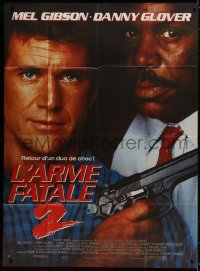 2z1013 LETHAL WEAPON 2 French 1p 1989 great close up of police partners Mel Gibson & Danny Glover!