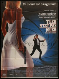 2z1017 LIVING DAYLIGHTS CinePoster REPRO French 1p 1987 Dalton as James Bond & sexy Maryam d'Abo!