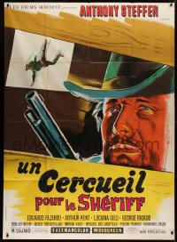2z1019 LONE & ANGRY MAN French 1p 1968 Belinsky spaghetti western art of Steffen with gun, rare!