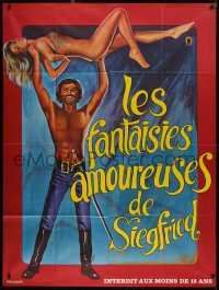 2z1021 LONG SWIFT SWORD OF SIEGFRIED French 1p 1971 Loris art of man lifting naked Sybil Danning!