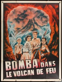 2z1022 LOST VOLCANO French 1p R1950s Johnny Sheffield as Bomba the Jungle Boy, art of cast & eruption!