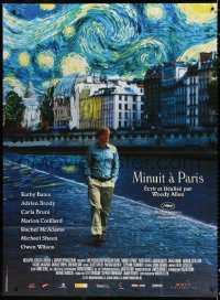 2z1042 MIDNIGHT IN PARIS French 1p 2011 cool image of Owen Wilson under Van Gogh's Starry Night!