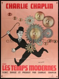 2z1045 MODERN TIMES French 1p R1970s Leo Kouper art of Charlie Chaplin running by giant gears!