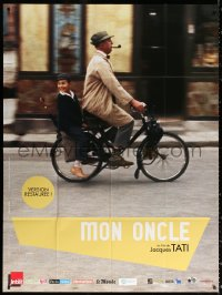 2z1046 MON ONCLE French 1p R2013 Jacques Tati as My Uncle, Mr. Hulot with kid on bicycle!