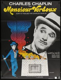2z1047 MONSIEUR VERDOUX French 1p R1973 wonderful different art of Charlie Chaplin by Leo Kouper!