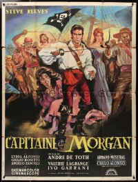 2z1049 MORGAN THE PIRATE French 1p 1961 Morgan il pirate, Allard art of swashbuckler Steve Reeves!