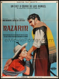 2z1057 NAZARIN French 1p 1960 Luis Bunuel, art of girl kissing Mexican Catholic priest's hand!