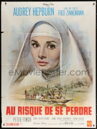 2z1069 NUN'S STORY French 1p R1960s different art of missionary Audrey Hepburn by Jean Mascii!
