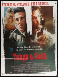 2z1171 TANGO & CASH French 1p 1989 close up of Kurt Russell & Sylvester Stallone with guns!