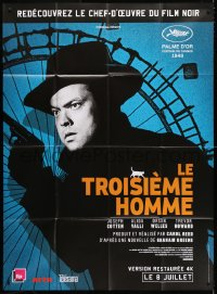 2z1178 THIRD MAN advance French 1p R2015 different c/u of Orson Welles with gun by Ferris wheel!