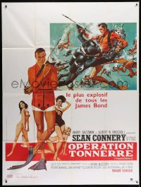 2z1186 THUNDERBALL French 1p R1980s art of Sean Connery as James Bond 007 by McGinnis and McCarthy!