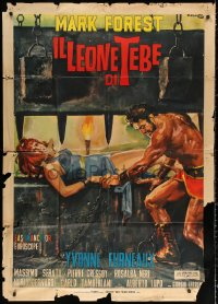 2z0623 LION OF THEBES Italian 1p 1965 Ciriello art of Mark Forest & Yvonne Furneaux as Helen of Troy