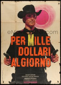 2z0655 RENEGADE GUNFIGHTER Italian 1p 1966 Nistri spaghetti western art of cowboy with two guns!