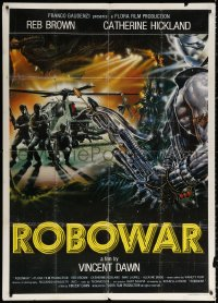2z0661 ROBOWAR Italian 1p 1988 Spataro art of men by helicopter in futuristic battle, rare!