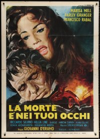 2z0670 SAVAGE CITY Italian 1p 1975 art of sexy Marisa Mell & Farley Granger by exploding car!