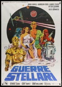 2z0684 STAR WARS Italian 1p 1977 George Lucas classic sci-fi epic, cool different art by Papuzza!