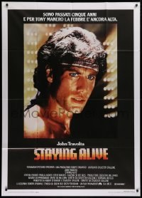 2z0686 STAYING ALIVE Italian 1p 1983 great c/u of John Travolta in Saturday Night Fever sequel!