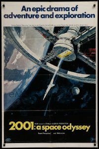 3a0742 2001: A SPACE ODYSSEY style A 70mm 1sh 1968 Kubrick, art of space wheel by Bob McCall!
