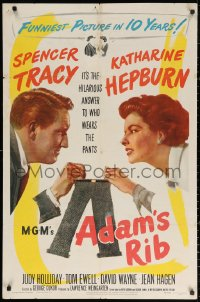 3a0745 ADAM'S RIB 1sh 1949 Spencer Tracy & Katharine Hepburn fight over who wears the pants!