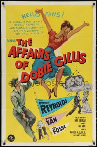 3a0749 AFFAIRS OF DOBIE GILLIS 1sh 1953 Bobby Van, Bob Fosse, wacky art of Debbie Reynolds!