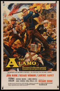 3a0751 ALAMO 1sh 1960 Brown art of John Wayne & Richard Widmark in Texas War of Independence!