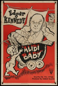 3a0752 ALIBI BABY 1sh 1945 Hal Yates short, wacky art of baby pushing Edgar Kennedy in stroller!