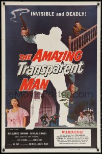 3a0758 AMAZING TRANSPARENT MAN 1sh 1959 Edgar Ulmer, cool fx art of the invisible & deadly convict!