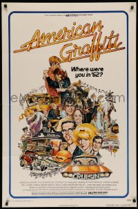 3a0759 AMERICAN GRAFFITI 1sh 1973 George Lucas teen classic, Mort Drucker montage art of cast!