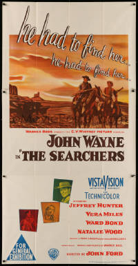 3a0334 SEARCHERS Aust 3sh 1956 different Southern Studios art of Wayne & Hunter in Monument Valley!