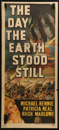 3a0504 DAY THE EARTH STOOD STILL Aust daybill 1952 Robert Wise, art of giant hand & Patricia Neal!