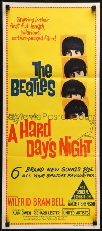 3a0546 HARD DAY'S NIGHT Aust daybill 1964 The Beatles in their first film, rock & roll classic!