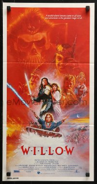 3a0721 WILLOW Aust daybill 1988 George Lucas & Ron Howard directed, fantasy art by Bysouth!